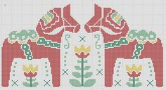 (9) Name: 'Sewing : Dala Horses Tulips Swedish Cross Stitch