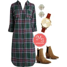 In this outfit: Conifer the Fun of It Tunic, Ornament to Be Earrings, Time Floats By Watch, Case in Pointed Bootie #plaid #fashion #fall #casual #outfits #ModCloth #ModStylist