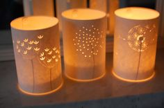 ✥ Set of three Seed Head Candle Lights. ~Beautiful!