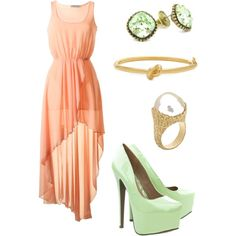 outfit: baby-peach assymmetrical thick-strapped tight-waisted pleated dress, gold / peridot (mint-green) studs, gold knotted belt, gold / clear crystal ring, mint-green shiny platform heels