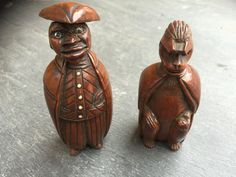 Antique Coquilla nut figural snuff Boxes www.opusantiques.co.uk