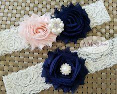Navy wedding garter Set,Navy Blue Garter,Dark Blue garters,Garters Sets,Peach toss Garter,Navy blue Wedding,Soft Peach wedding,Custom garter
