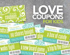 Love Coupons FOR KIDS  Printable Instant by Studio120Underground