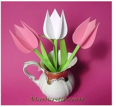 Mar 2020 - Easy paper tulips - paper craft for mom Simple Paper Flower, Paper Flowers For Kids, Tissue Paper Flowers, Paper Crafts Origami, Easy Paper Crafts, 3d Paper, Kids Crafts, Paper Lotus, Paper Bouquet