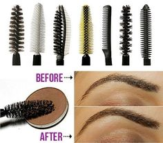Wash and reuse old mascara brushes eyebrow brush, spray with hairspray to keep eyebrows in place. other make up tips. Beauty Make-up, Beauty Secrets, Beauty Hacks, Fashion Beauty, Mascara Wands, Clear Mascara, Mascara Tips, Make Up Tricks, Makeup Ideas