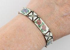 Vintage Hestenes Norway Sterling Vermeil Bracelet Enamel Flowers & Butterflies  #HestenesNorway #TennisorLink