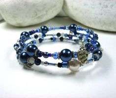 SALE PRICE set of  2 bracelets,  blue, purple, beaded, wrap bangles, memory wire bracelets by LisaDeluxe for $7.00