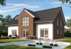 """Fertighaus-Modell """"Florenz"""" - Einfamilienhaus mit Einliegerwohnung, gemeinsames Eingangsportal, getrennte Wohnungstüren in der Diele. Raumgrundfläche gesamt: 211,63 qm"""