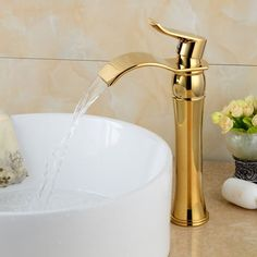 New Arrival Luxury Golden Waterfall Faucet Single Handle Antique Kitchen Basin Sink Faucet Gold Faucet, Kitchen Basin Sink, Bathroom Sink Faucets, Oil Rubbed Bronze Bathroom, Faucet, Kitchen Basin, Sink, Black Faucet Bathroom, Basin
