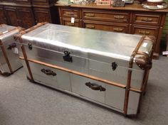 Table by Restoration Hardware - Built to look like 1930,s steamer trunks. Makes a great coffee table. Item 1083-5. Price. $1100.00   - http://takeitorleaveit.co/2017/04/24/table-by-restoration-hardware/