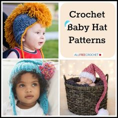 The cutest hats ever! Check out this collection of 16 Crochet Baby Hat Patterns