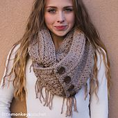 This chunky infinity scarf is a match to the Rustic Slouch (linked on post). It works up quickly and beautifully.