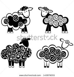 set of sheep icon isolated on white background.  illustration  by Kalenik Hanna, via Shutterstock