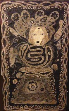 stylo bille sur toile, 2010 par Frances M Dallocchio, autodidacte née en 1961