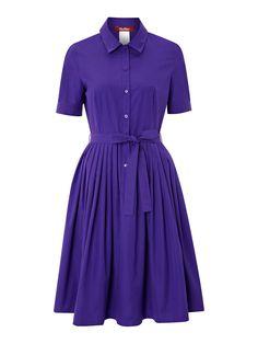 MaxMara Studio Europa pleated shirt dress with tie belt, Purple