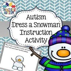 Autism Dress a Snowman Instruction Activity