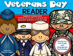 {Veterans Day Reader} for First Grade and Kindergarten Social Studies. Kid friendly wording and students will be delighted to take it home to read with their family. $