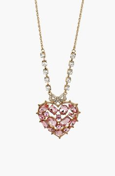 Betsey Johnson 'Vintage Bow' Heart Pendant Necklace available at #Nordstrom