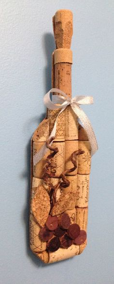 wine bottle wall hanging made from recycled by CorkCreationsbyK