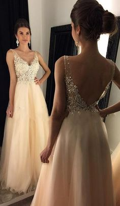V-neck Beading Prom Dresses Long Formal Dress