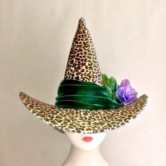 Highland Green Velvet Leopard Witch Hat with peacock plumes