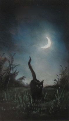 — Anne Sudworth – Black Cat by Moonlight. Pastel — Anne Sudworth – Black Cat by Moonlight. Halloween Kunst, Halloween Cat, Fantasy Kunst, Fantasy Art, Arte Obscura, Witch Cat, Photo Chat, Arte Horror, Moon Art