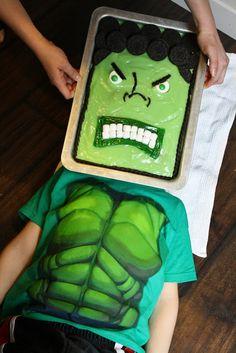 Cute Incredible Hulk birthday cake