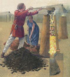 Skaktovn til jernudvinding bliver fyldt op – Rennfeuerofen wird gefüllt – Iron smelting furnace, in fire