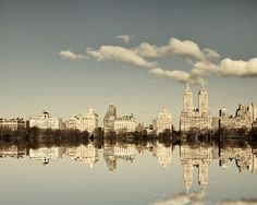 NYC Skyline, New York Photography, Manhattan Reflection, Central Park Photo, Fine Art Print, Upper West Side, Grey Blue - Manhattan Mirror. $30.00, via Etsy.