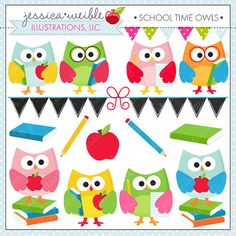 School Time Owls - Cute Digital Clipart for Commercial and Personal Use, School Owl Clipart, School Graphics