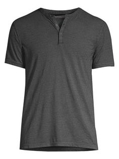 John Varvatos Three-button Tee In Charcoal Heather John Varvatos, Minimalist Design, Charcoal, Buttons, Mens Fashion, Tees, Mens Tops, T Shirt, Clothes