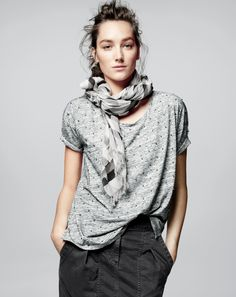 AUG '14 Style Guide: J.Crew women's sequin dot tee, washed pencil skirt and shaded diamond scarf.