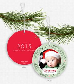Your favorite photo will look amazing on the front of this whimsical wreath ornament!