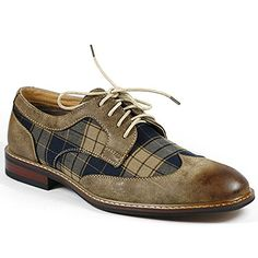 Ferro Aldo M-19266A Brown Mens Lace Up Plaid Oxford Dress Classic Shoes