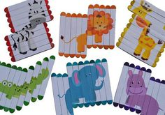 Busy bag popsicle sticks puzzles zoo animals by osidekickso Popsicle Stick Crafts, Popsicle Sticks, Craft Stick Crafts, Fun Crafts, Craft Ideas, Infant Activities, Preschool Activities, Diy For Kids, Crafts For Kids