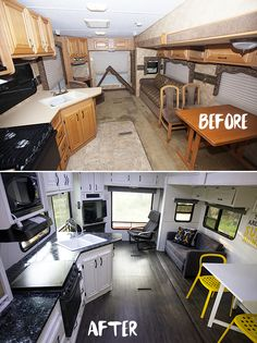 Before and after RV living area renovation
