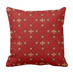 Vintage Fleur de Lis on Deep Rich Red Pattern Throw Pillow