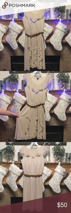"JBS DRESS SIZE 14-100% POLYESTER JBS DRESS-SIZE 14-100% POLYESTER-ARMHOLE DISTANCE IS ABOUT 18""-LENGTH IS ABOUT 44""-LIGHT TAN IN COLOR JBS Dresses Midi"