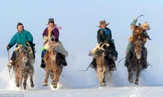 Chill factor: Skilled riders take part in a competition in Hulunbuir. The horses live outside year-round, braving temperatures as low as -40C in the winter. http://www.dailymail.co.uk/news/article-2548320/Stunning-images-year-life-horses-inhabit-wild-plains-Mongolia-China-prepares-celebrate-animal-upcoming-lunar-New-Year.html