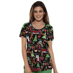 Tooniforms by Cherokee Women's Round Neck Print Scrub Top Christmas Scrub Tops, Cute Scrubs, Cherokee Woman, Nursing Accessories, Scrubs Uniform, Rudolph Christmas, Christmas Print, Work Uniforms, Medical Scrubs