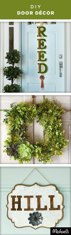 Embrace the warmer temps and refresh your home with these spring door décor ideas. You can personalize your front porch with initials and monograms. Find everything you need to make these projects at your local Michaels store.