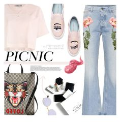 """PICNIC IN THE PARK : Don't Forget"" by riskiarrafida ❤ liked on Polyvore featuring H&M, Gucci, adidas, Chiara Ferragni, Ray-Ban and Bobbi Brown Cosmetics"