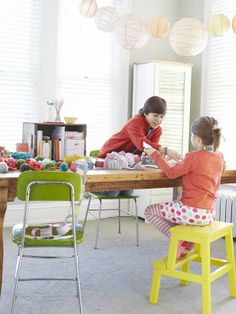This craft/play room used to be a sunroom, which explains all the natural light streaming through the windows. #hgtvmagazine http://www.hgtv.com/decorating-basics/creating-a-cozy-house/pictures/page-18.html?soc=pinterest
