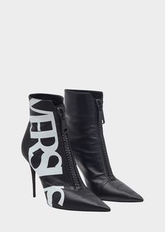 Versus Versace Versus Logo High Heel Eco Leather Boots for Women Heeled Boots, Bootie Boots, Shoe Boots, Ankle Boots, Mode Shoes, Versace Shoes, Aesthetic Shoes, Unique Shoes, Leather Boots