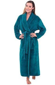 d216a30abb Women s Green Fleece Bathrobe Large Extra L Warm Soft Long Luxury Spa Robe  XL  DelRossa