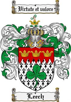 Leech Coat of Arms Leech Family Crest Instant Download - for sale ...