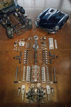 Disassembled Jaguar E-Type V-12 Engine