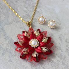 Christmas Jewelry Set Poinsettia Jewelry Set Scarlet Red Necklace and Earrings Set Red and Gold Necklace Holiday Jewelry Set