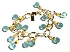 Aquamarine and Glass Pearl Gold Link Bracelet Bubbles