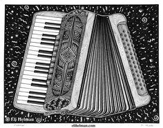 Accordion by Eli Helman, 8x10, Micron pen ink on paper